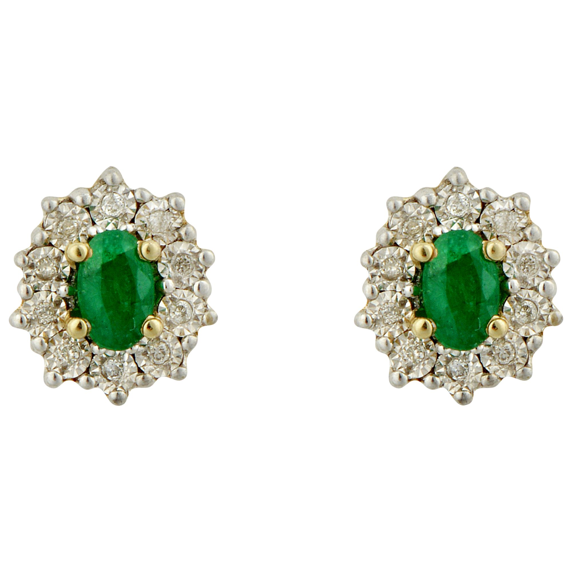 Sharon Mills 9ct Gold Diamond Emerald Stud Earrings