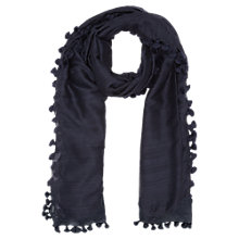 Buy Jigsaw Pom Pom Scarf, Navy Online at johnlewis.com