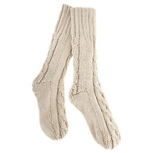 Buy Mint Velvet Fleece Lined Cable Knit Socks, Oatmeal Online at johnlewis.com