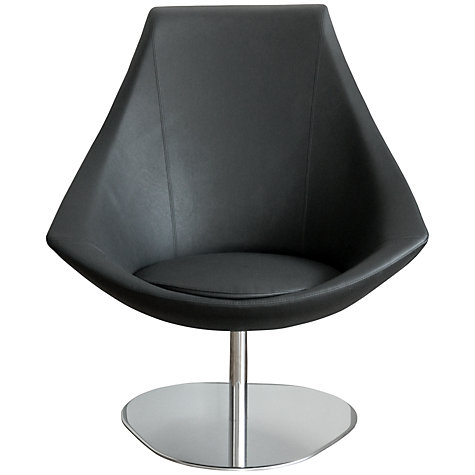 Buy John Lewis Brera Leather Swivel Chair, Magnum Black Online at johnlewis.com