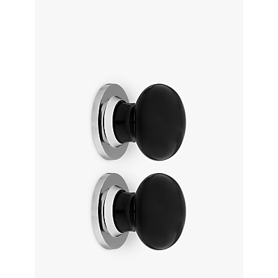 John Lewis Black Mortice Knobs, Pack of 2, Dia.60mm