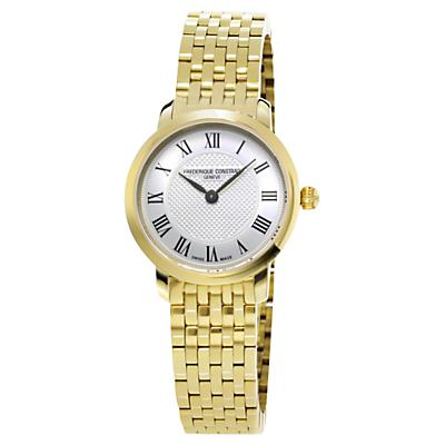 Frédérique Constant FC-200MCS5B Women's Slim Line Bracelet Strap Watch, Gold/Silver