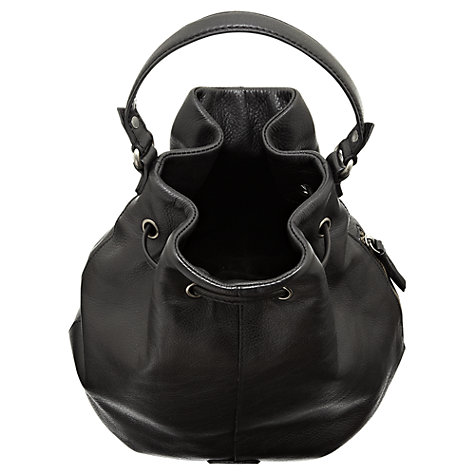 Buy Jigsaw Vancouver Leather Duffle Handbag, Black Online at johnlewis.com