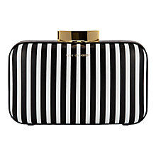 Buy Lulu Guinness Fifi Leather Clutch Bag, Black/White Online at johnlewis.com