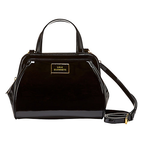 Buy Lulu Guinness Paula Patent Leather Across Body Bag, Black Online at johnlewis.com