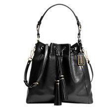 Buy Coach Madison Pinnacle Leather Drawstring Shoulder Handbag, Black Online at johnlewis.com