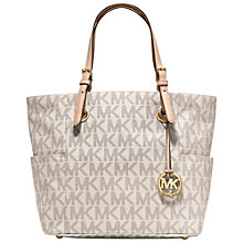 Buy MICHAEL Michael Kors Jet Set East/West Tote Bag, Signature Vanilla Online at johnlewis.com