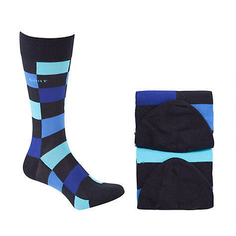 Buy Gant Check Stripe Socks, Pack of 2, Blue, One Size Online at johnlewis.com