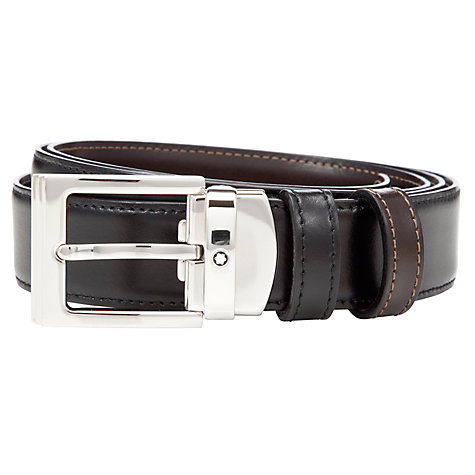 Buy Montblanc Square Shiny Palladium Reversible Leather Belt,One Size, Black/Brown Online at johnlewis.com