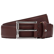 Buy Montblanc Palladium Coated Rectangular Buckle Leather Belt, Brown Online at johnlewis.com
