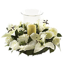 Buy Peony Rose and Lily Candle Centre Floral Arrangement, White Online at johnlewis.com