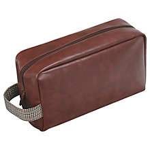Buy Jacob Jones Check Wash Bag, Brown Online at johnlewis.com
