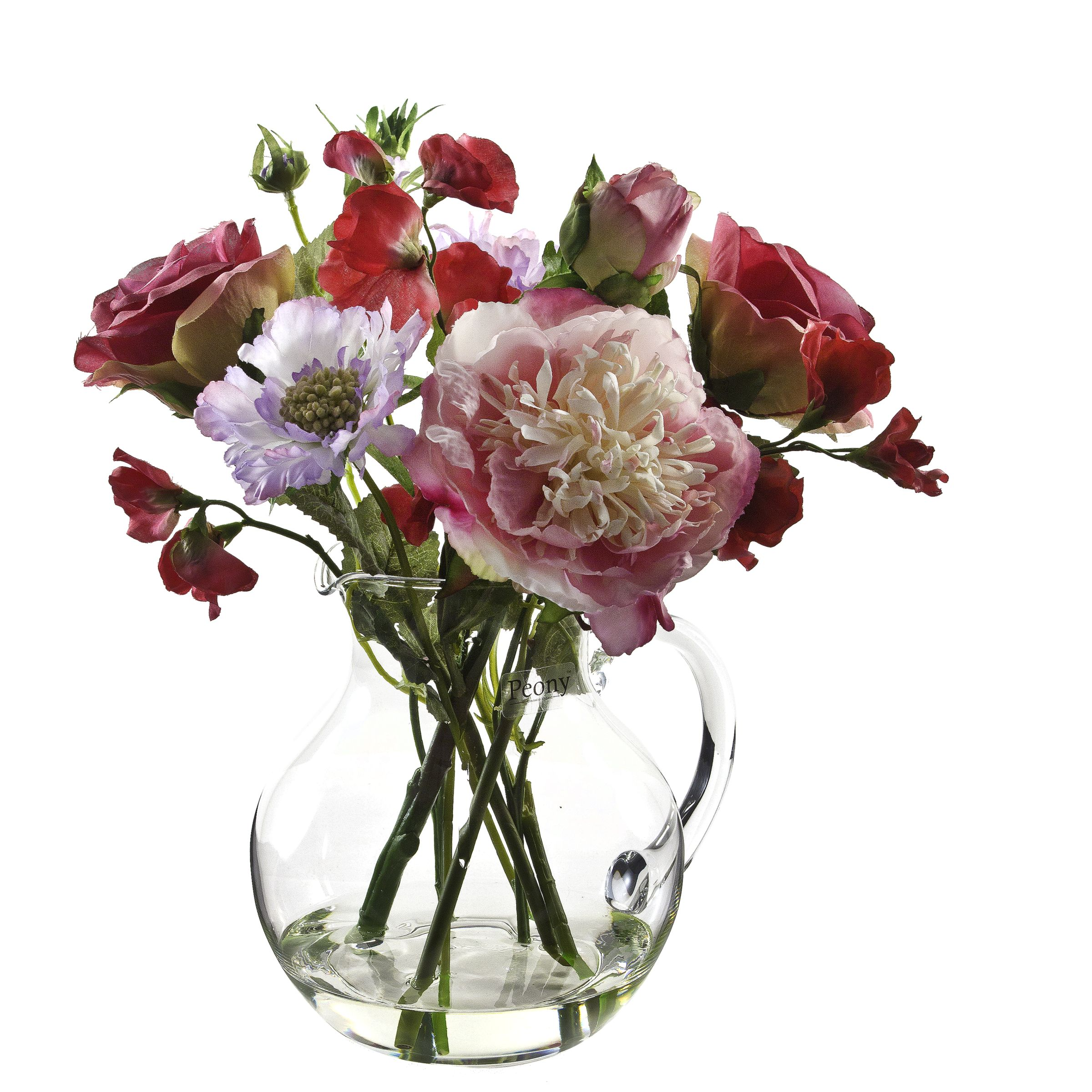 Cottage Garden Flowers in Glass Jug,