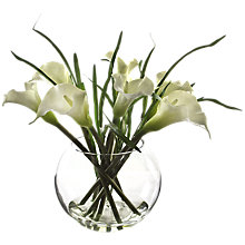 Buy Peony Arum Lilies and Bear Grass In Glass Bowl, White Online at johnlewis.com