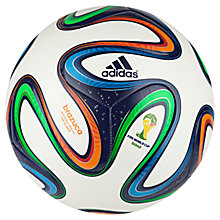 Buy Adidas World Cup 2014 Final Top Glide Football, Size 5, White/Blue Online at johnlewis.com