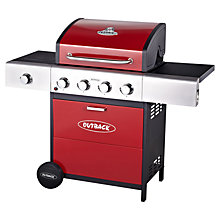 Buy Outback Meteor Hooded 4 Burner Gas Barbecue, Red Online at johnlewis.com