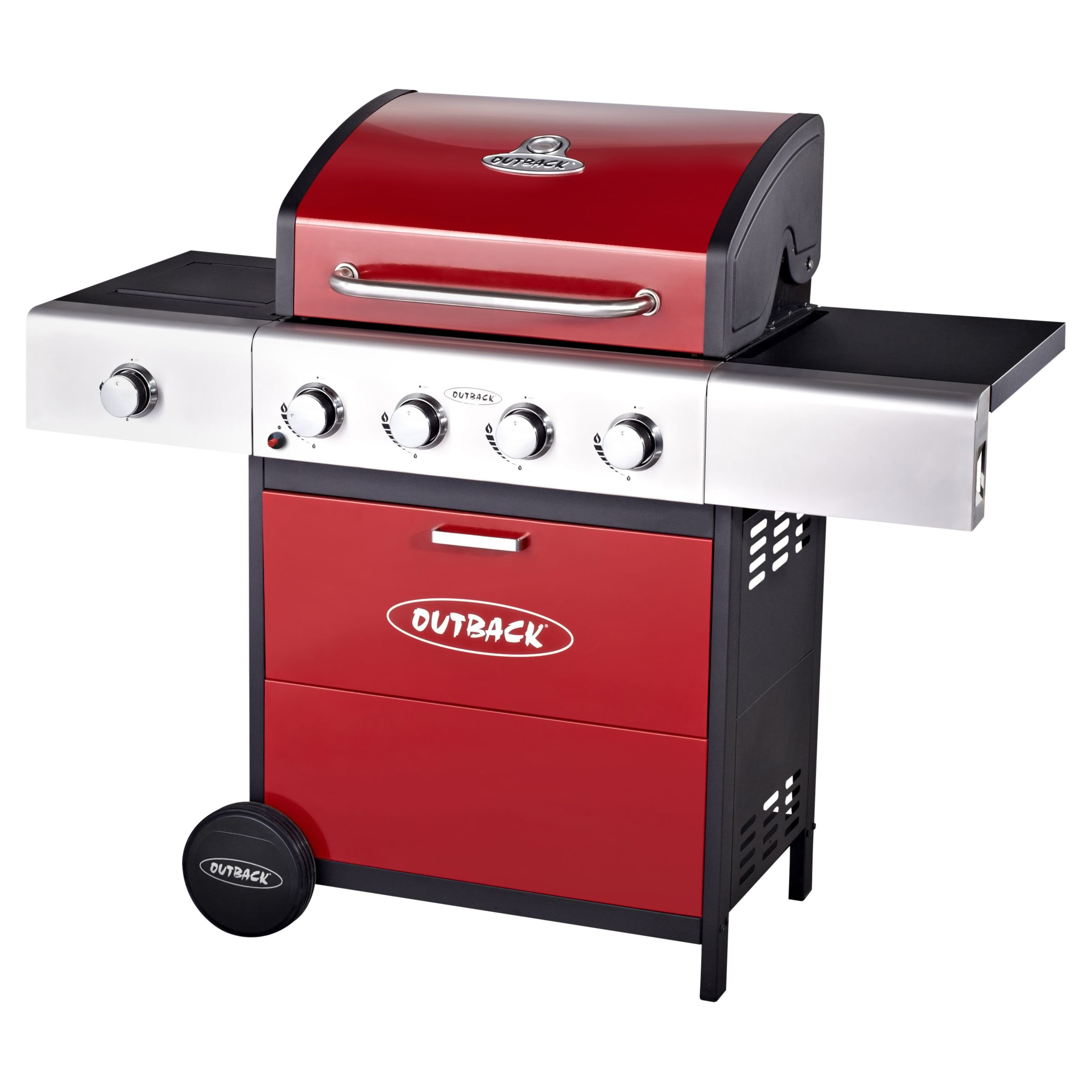 Outback Meteor Hooded 4 Burner Gas Barbecue, Red