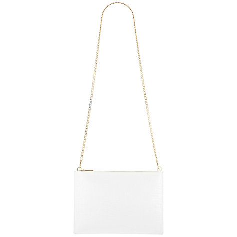 Buy Whistles Rivington Croc Clutch Handbag, White Online at johnlewis.com