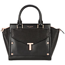Buy Ted Baker Layally Leather Tote Bag, Black Online at johnlewis.com