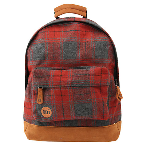 Buy Mi-Pac Mini Plaid Backpack, Red Online at johnlewis.com
