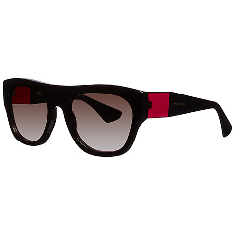 Buy Miu Miu MU05PS 1AB1E2 Rectangular Sunglasses, Black Online at johnlewis.com
