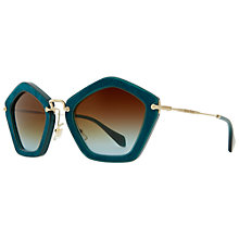 Buy Miu Miu MU06OS NAO1f0 Pentagonal Acetate Frame Metal Arm Sunglasses, Turquoise/Gold Online at johnlewis.com