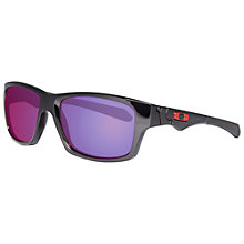 Buy Oakley OO91351 913506 Rectangular Acetate Framed Polarised Sunglasses, Black/Purple Online at johnlewis.com