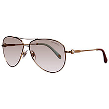 Buy Tiffany & Co TF3043H 608859 Aviator Sunglasses with Pearl Detail, Gold Online at johnlewis.com