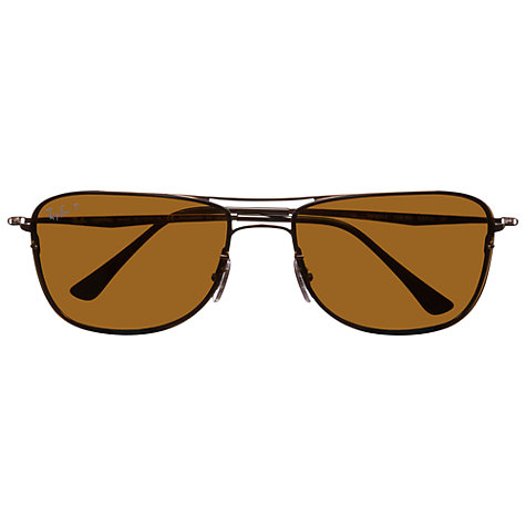 Buy Ray-Ban RB8054 158/83 Polarised  Aviator Sunglasses, Brown Online at johnlewis.com