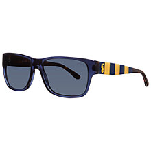 Buy Polo Ralph Lauren PH4083 544087 Striped Arm Rectangular Sunglasses, Blue Online at johnlewis.com