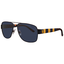 Buy Polo Ralph Lauren PH3085 Shiny Striped Rectangular Sunglasses Online at johnlewis.com