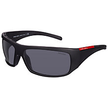 Buy Prada Linea Rossa 0PS01LS 1BO1A1 Rectangular Acetate Sunglasses, Black Online at johnlewis.com