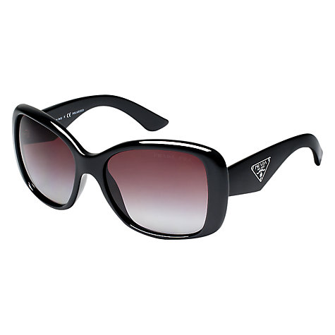 Buy Prada PR32PS Classic Rectangular Polarised Sunglasses, Black Online at johnlewis.com