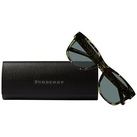 Buy Burberry BE4149 341271 Cool Animal Print Rectangular Sunglasses, Green Online at johnlewis.com