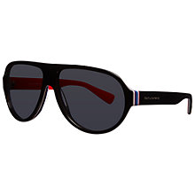 Buy Dolce & Gabbana DG4204 276487 Modern Aviator Acetate Framed Sunglasses, Black/Red Online at johnlewis.com