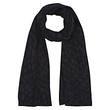 Buy Hobbs Leopard Print Scarf, Navy/Black Online at johnlewis.com