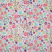 Buy little home at John Lewis Dots and Dolls Fabric, Pink Online at johnlewis.com