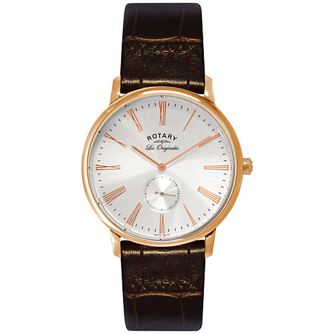Buy Rotary GS90053/21 Men's Les Originales Kensington Leather Strap Watch, Brown Online at johnlewis.com