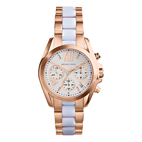 Buy Michael Kors MK5907 Women's Bradshaw Mini Two-Tone Chronograph Watch, Rose Gold Online at johnlewis.com