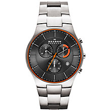 Buy Skagen SKW6076 Aktiv Men's Titanium Chronograph Bracelet Strap Watch, Grey Online at johnlewis.com