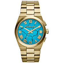 Buy Michael Kors MK5894 Women's Brooks Statement Dial Bracelet Strap Watch, Turquoise / Gold Online at johnlewis.com