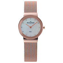 Buy Skagen 358SRRD Women's Stainless Steel Bracelet Watch, Rose Gold Online at johnlewis.com