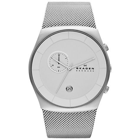 Buy Skagen SKW6071 Men's Klassik Chronograph Mesh Bracelet Watch, Silver Online at johnlewis.com