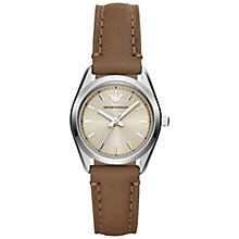 Buy Emporio Armani AR6027 Women's Tazio Stainless Steel Round Case Leather Strap Watch, Taupe Online at johnlewis.com