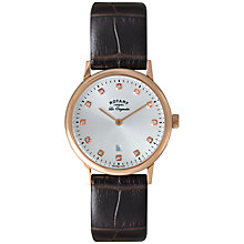 Buy Rotary LS90053/06 Women's Kensington Rose Gold Plated Leather Strap Watch, Brown Online at johnlewis.com