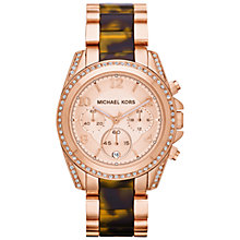 Buy Michael Kors MK5859 Women's Blair Tortoiseshell Strap Watch, Rose Gold Online at johnlewis.com