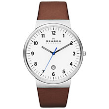 Buy Skagen SKW6082 Men's Klassik Leather Strap Watch, Brown Online at johnlewis.com