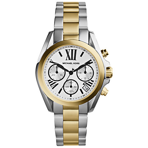 Buy Michael Kors MK5912 Women's Bradshaw Mini Two-Tone Chronograph Watch, Silver / Gold Online at johnlewis.com