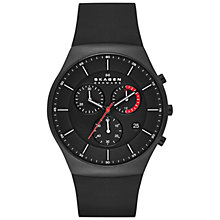 Buy Skagen SKW6075 Aktiv Men's Titanium Chronograph Silicone Strap Watch, Black Online at johnlewis.com