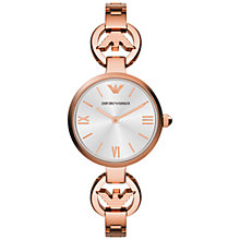 Buy Emporio Armani AR1773 Women's T-Bar Silver Round Dial Bracelet Strap, Rose Gold Online at johnlewis.com